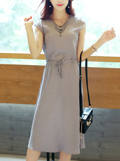 Grey Midi Slim Drawstring Plus Size Dress for Casual Office Evening Party