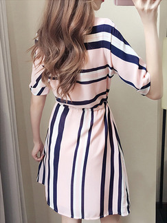 Pink and Black Above Knee Knitted Stripe Drawstring Plus Size Dress for Casual Office Evening Party