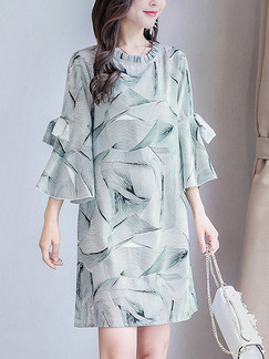 Green Grey Chiffon Loose Plus Size Butterfly Knot Ruffled Stand Collar Above Knee Dress for Casual Party Evening