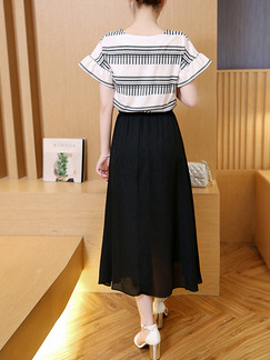 Black and White Seem-Two Embroidery Contrast Linking Drawstring Midi Plus Size Dress for Casual Party Evening Office