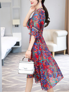 Red Colorful Chiffon A-Line Slim V Neck Printed Flare Sleeve Laced Floral Plus Size Knee Length Dress for Casual Party Evening