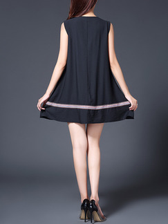 Black Loose A-Line Band Belt Embroidery Above KNEE Dress for Casual Party Evening