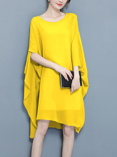 Yellow Chiffon Two-Piece Bat Asymmetrical Hem Band Belt Plus Size Knee Length Long Sleeve Dress for Casual Party Evening