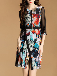 Colorful Contrast Linking Mesh Plus Size Printed Furcal Slim Above Knee Dress for Casual Party Evening Office