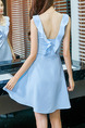 Blue Slim A-Line Ruffled Halter Above Knee Flare Dress for Casual Party Evening Nightclub