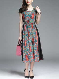 Colorful Plus Size Contrast Linking Printed Midi Dress for Casual