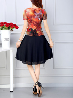 Black and Red Colorful Plus Size A-Line Slim Printed Seem-Two Above Knee Dress for Casual