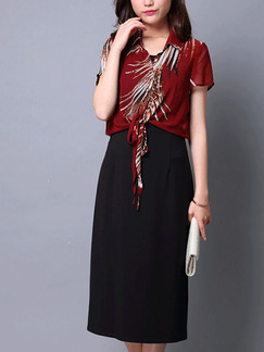 Red and Black Knitted Two-Piece Slim Printed Plus Size Band Belt Midi Dress for Casual Office