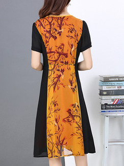 Apricot and Black Chiffon Slim A-Line Contrast Linking Printed Plus Size Knee Length Dress for Casual Office Party