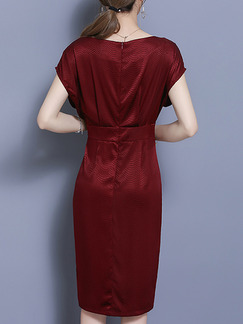 Red Satin Slim Plus Size Furcal Sheath Knee Length Dress for Casual Party Evening Office