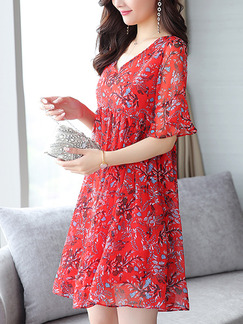 Red Chiffon V Neck Plus Size Loose Printed Ruffled Above Knee Floral Dress for Casual Party
