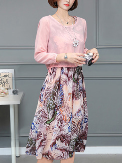 Pink Colorful Two-Piece Plus Size A-Line Knitted Chiffon Printed Midi Cute Dress for Casual Party