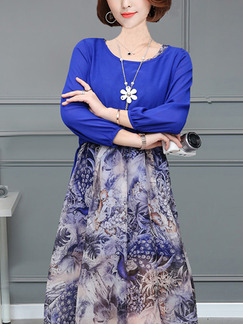 Blue Colorful Two-Piece Plus Size A-Line Knitted Chiffon Printed Midi Cuute Dress for Casual Party