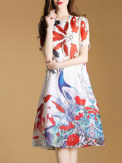 Colorful Chinese Plus Size A-Line Stand Collar Located Printing Knee Length Dress for Casual Party