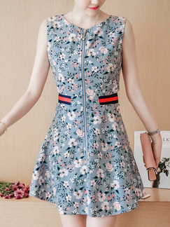 Blue Colorful Slim A-Line Plus Size Mesh Linking Printed Zipped Floral Above Knee Dress for Casual Party