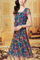 Colorful Mesh Printed Slim A-Line Rhinestone Plus Size Knee Length Dress for Casual Party