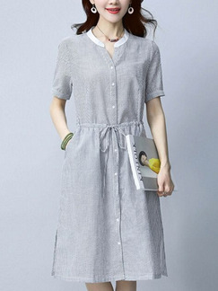Grey Literary Plus Size Stripe Drawstring Shirt Knee Length Dress for Casual