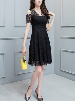 Black Slim A-Line Lace V Neck Off Shoulder Plus Size Above Knee Dress for Casual Party Evening
