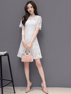 White Lace Two-Piece Slim A-Line Plus Size Above Knee Dress for Casual Party Evening