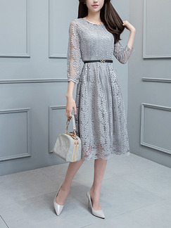 Grey Lace Slim A-Line  Midi Plus Size Dress for Casual Office Evening