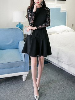 Black Lace Linking Slim A-Line Stand Collar Flare Long Sleeve Dress for Casual Party Evening