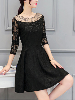 Black Mesh Lace Linking Slim A-Line Long Sleeve Plus Size Above Knee Dress for Casual Party Evening Nightclub