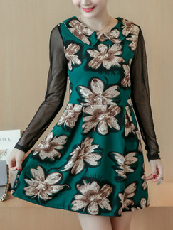 Green Black Mesh Linking Slim A-Line Floral Above Knee Long Sleeve Dress for Casual Party Evening