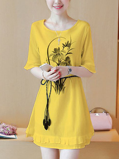 Yellow Chiffon Plus Size Flare Sleeve Ruffled Located Printing Band Belt Above Knee Cute Dress for Casual Party