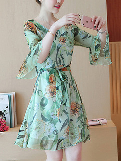 Green Chiffon Slim A-Line Plus Size Printed Flare Sleeve Band Belt Floral Above Knee Dress for Casual Party