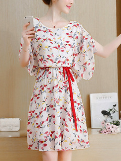 White Colorful Chiffon Plus Size Printed Furcal Adjustable Waist Band Belt Knee Length Dress for Casual Party