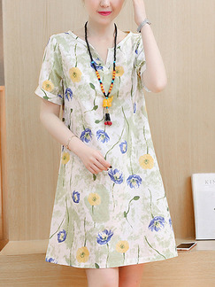 White Colorful Literary Plus Size Loose Printed Floral Above Knee Dress for Casual