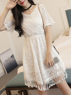 White Lace V Neck A-Line Adjustable Waist Flare Sleeve Tassels Above Knee Dress for Casual Party Evening