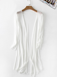 White Chiffon Sunscreen Plus Size Long Sleeve Cardigan for Casual