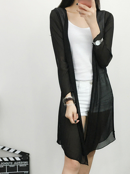 Black Chiffon Sunscreen Plus Size Long Sleeve Cardigan for Casual
