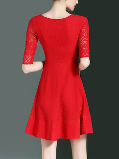 Red Slim A-Line Plus Size Cutout Neck Lace Above Knee Dress for Casual Party Evening