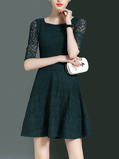 Green Slim A-Line Plus Size Cutout Neck Lace Above Knee Dress for Casual Party Evening
