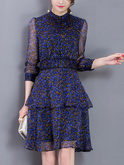 Blue Chiffon Slim A-Line Layered Stand Collar Printed Plus Size Above Knee Dress for Casual Office Evening Party