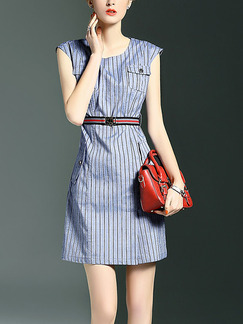 Blue Stripe Slim Round Neck Stripe Buckled Plus Size Above Knee Dress for Casual Office Party