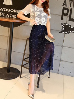 Blue and White Midi Slim Pleated Two-Piece Lace Plus Size Dress for Casual Party