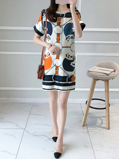 Colorful Above Knee Loose Round Neck Printed Plus Size Dress for Casual Office Evening Party