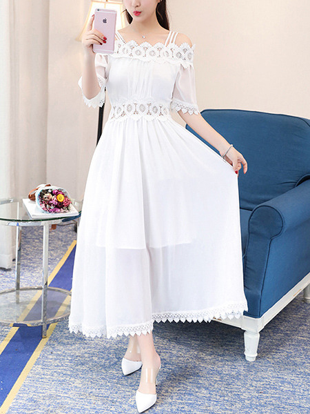 White Maxi Linking Off-Shoulder A-Line Slim Laced Plus Size Dress for Evening Party