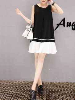 Black and White Above Knee A-Line Loose Contrast Linking Plus Size Dress for Casual Office Evening Party