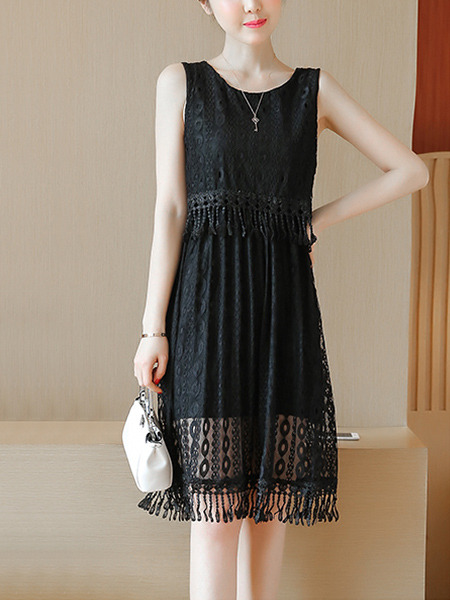 Black Knee Length Slim Lace Tassels Plus Size Dress for Casual Evening Party