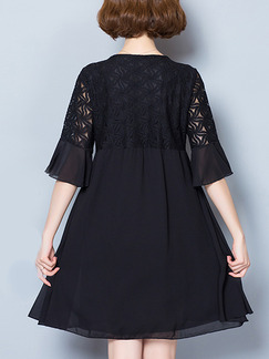 Black Above Knee Bead Lace Linking A-Line Loose Plus Size Dress for Office Evening Party