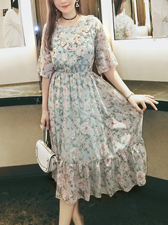 Colorful Chiffon Printed Ruffled Slim Full Skirt Plus Size Floral Dress for Casual Party