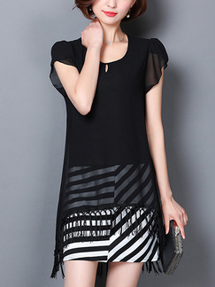 Black and White Above Knee Chiffon Stripe Contrast Linking Loose Plus Size Tassels Asymmetrical Hem Dress for Casual Office Evening Party