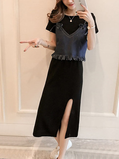Black and Blue Midi Two-Piece Tassels Denim Knitted Furcal Plus Size Dress for Casual Party