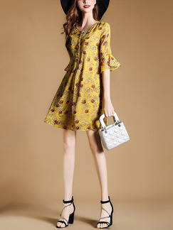Yellow Above Knee Chiffon Printed Flare Sleeve Slim A-Line Plus Size Dress for Casual Office Evening Party
