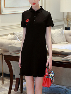 Black Above Knee Slim Embroidery Knitted Shirt Ruffled Plus Size Dress for Casual