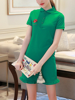 Green Above Knee Slim Embroidery Knitted Shirt Ruffled Plus Size Dress for Casual